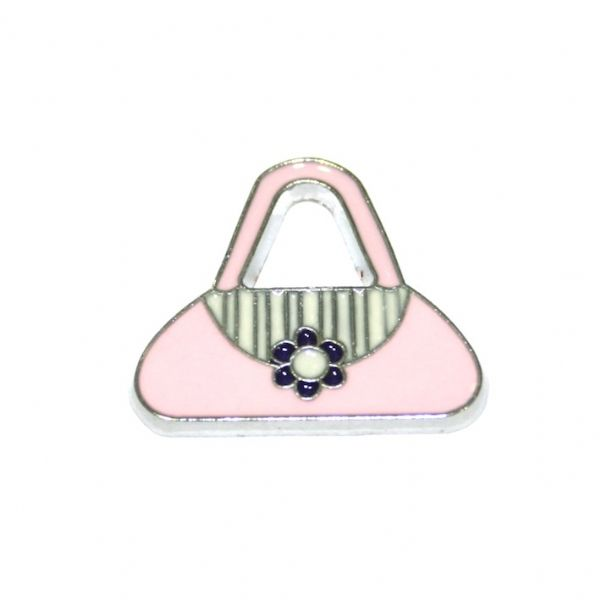 1 x 21*18mm rhodium plated long string pink handbag enamel charm - SD03 - CHE1313